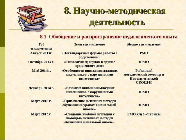 8. Научно-методическая деятельность 8.1. Обобщение и распространение педагоги...