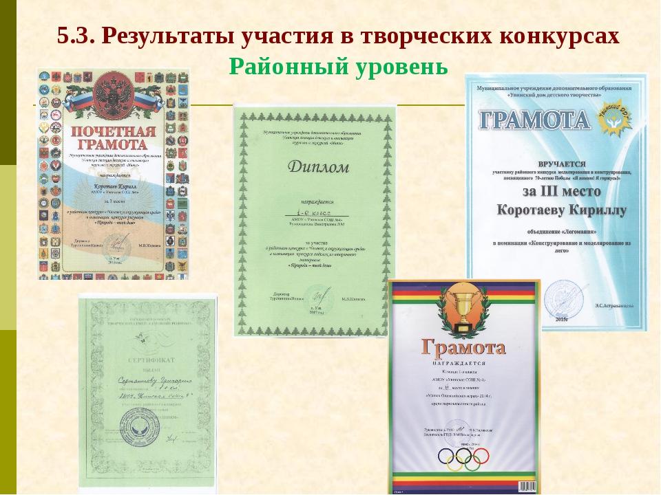 5.3. Результаты участия в творческих конкурсах Районный уровень