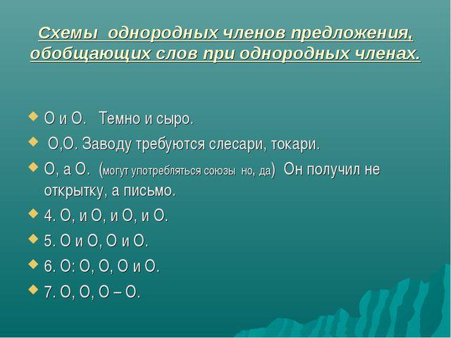 Схемы однородных членов предложения, обобщающих слов при однородных членах. О...