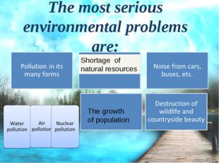 The most serious environmental problems are: Shortage of natural resources Th