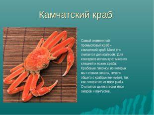 Камчатский краб Самый знаменитый промысловый краб – камчатский краб. Мясо его