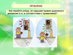 ПРОБЛЕМА - Как перейти улицу, не нарушая правил дорожного движения (т.е. в с