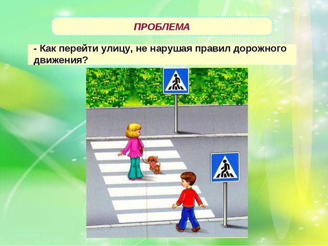 ПРОБЛЕМА - Как перейти улицу, не нарушая правил дорожного движения?