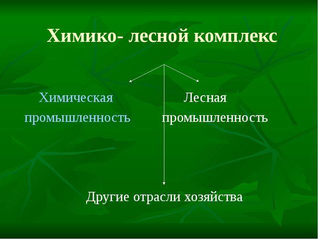 Химико- лесной комплекс Химическая Лесная промышленность промышленность Други...