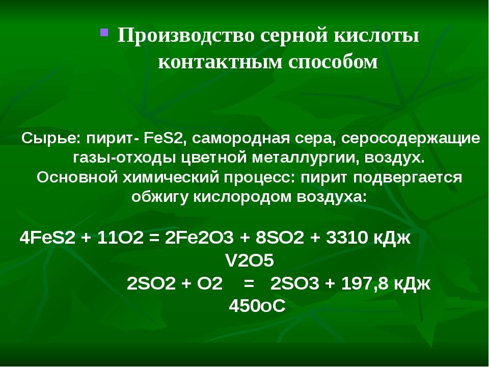 Производство серной кислоты контактным способом Сырье: пирит- FeS2, самородн...