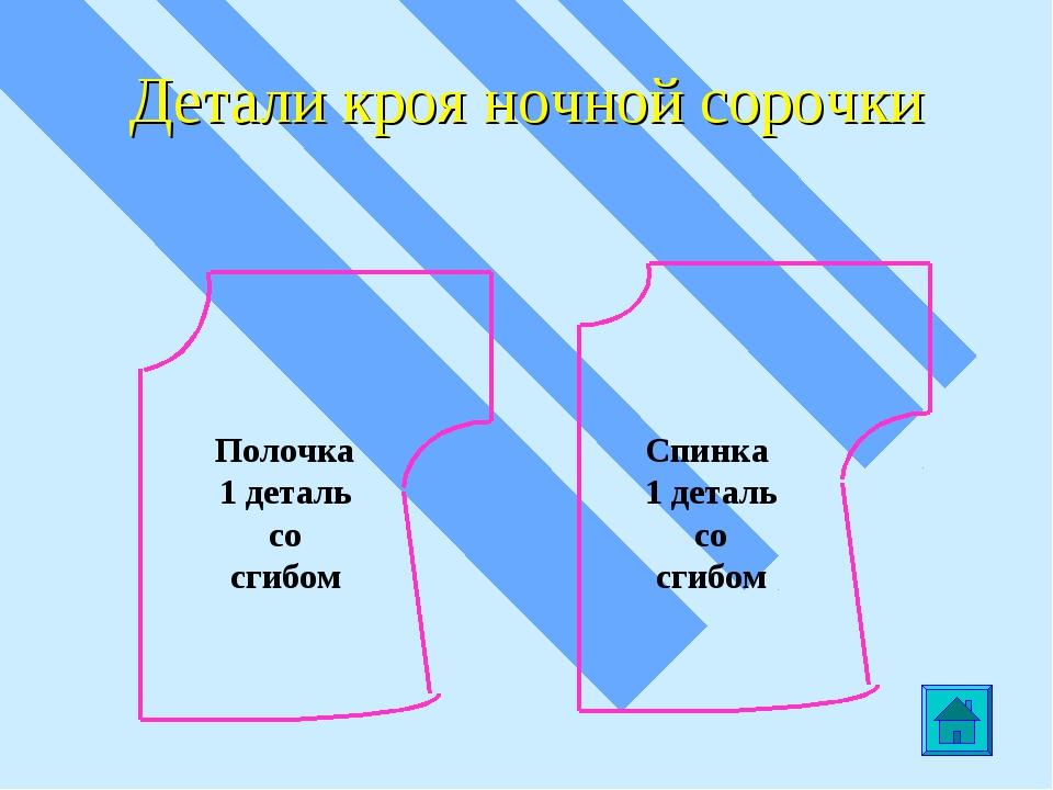 Детали кроя ночной сорочки Полочка 1 деталь со сгибом Спинка 1 деталь со сгибом