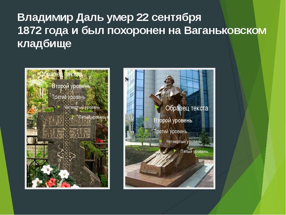 Владимир Даль умер 22 сентября 1872 года и был похоронен на Ваганьковском кла...