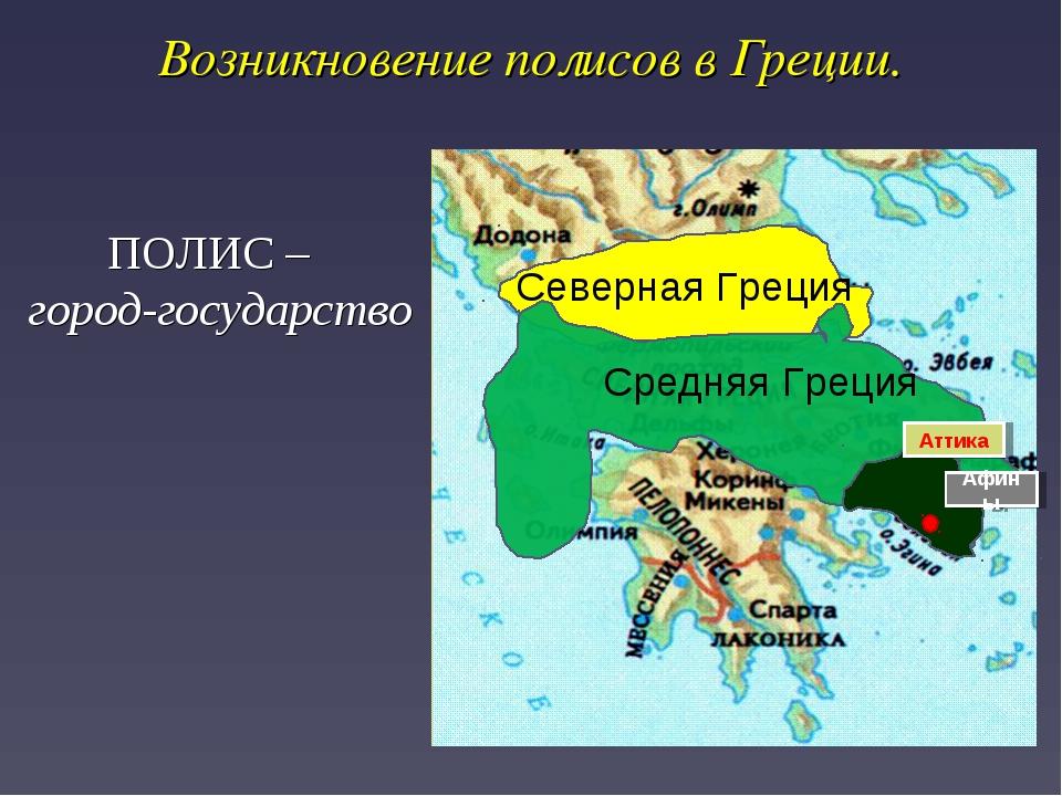 Возникновение полисов в Греции. Северная Греция Средняя Греция Аттика Афины П...