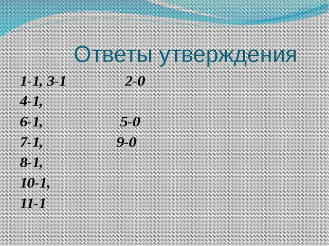 Ответы утверждения 1-1, 3-1 2-0 4-1, 6-1, 5-0 7-1, 9-0 8-1, 10-1, 11-1
