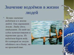 Значение водоёмов в жизни людей Велико значение водоёмов и в жизни людей. Они