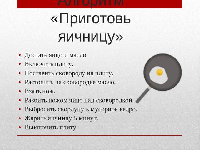 Достать яйцо и масло. Включить плиту. Поставить сковороду на плиту. Растопить...