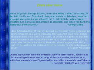 """Zitate über Heine """"Heine sagt sehr bissige Sachen, und seine Witze treffen i"""