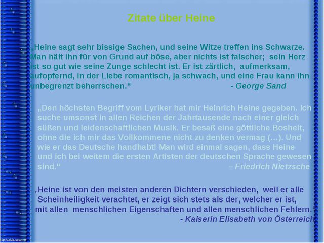 """Zitate über Heine """"Heine sagt sehr bissige Sachen, und seine Witze treffen i..."""