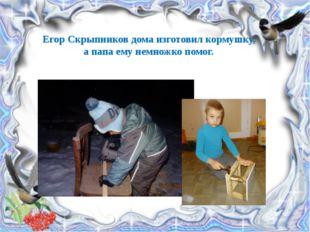 Егор Скрыпников дома изготовил кормушку, а папа ему немножко помог.