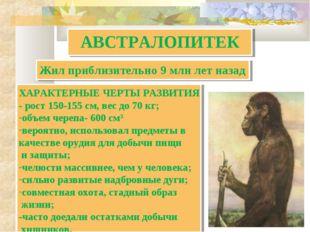 АВСТРАЛОПИТЕК ХАРАКТЕРНЫЕ ЧЕРТЫ РАЗВИТИЯ - рост 150-155 см, вес до 70 кг; объ