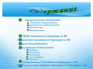 Функциональные обязанности Аналитико-контролирующие Организационно-координаци