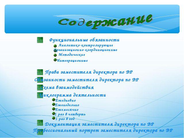 Функциональные обязанности Аналитико-контролирующие Организационно-координаци...