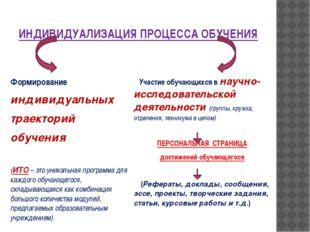 ИНДИВИДУАЛИЗАЦИЯ ПРОЦЕССА ОБУЧЕНИЯ Формирование индивидуальных траекторий обу