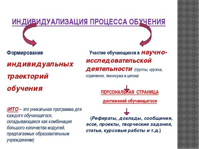 ИНДИВИДУАЛИЗАЦИЯ ПРОЦЕССА ОБУЧЕНИЯ Формирование индивидуальных траекторий обу...