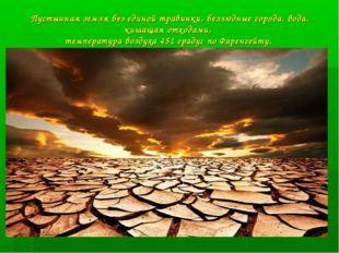 Пустынная земля без единой травинки, безлюдные города, вода, кишащая отходами
