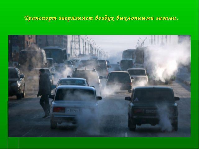 Транспорт загрязняет воздух выхлопными газами.