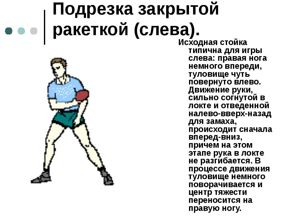 Подрезка закрытой ракеткой (слева). Исходная стойка типична для игры слева:...