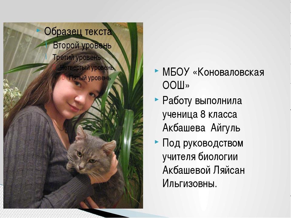 МБОУ «Коноваловская ООШ» Работу выполнила ученица 8 класса Акбашева Айгуль По...