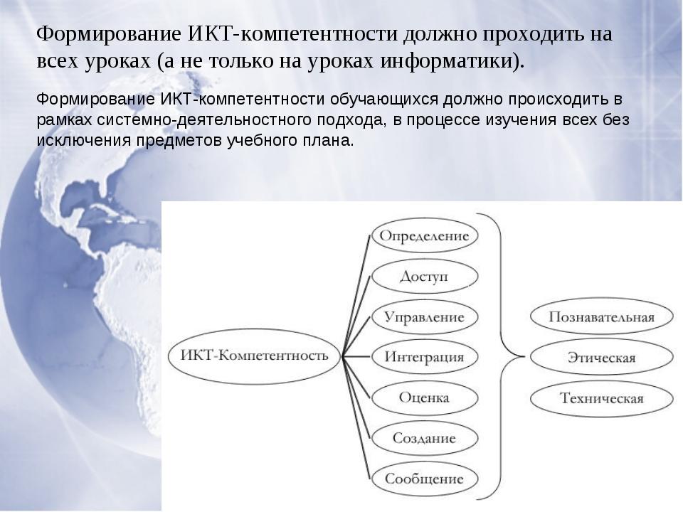 Формирование ИКТ-компетентности должно проходить на всех уроках (а не только...