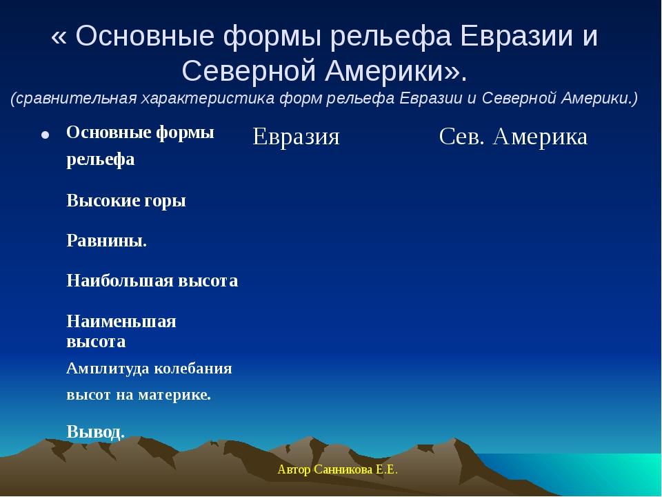 « Основные формы рельефа Евразии и Северной Америки». (сравнительная характер...