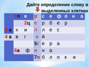 Дайте определение слову в выделенных клетках  1п е р с е ф о н а  2ц