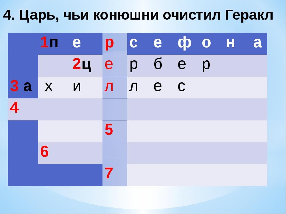 4. Царь, чьи конюшни очистил Геракл  1п е р с е ф о н а  2ц е р б...