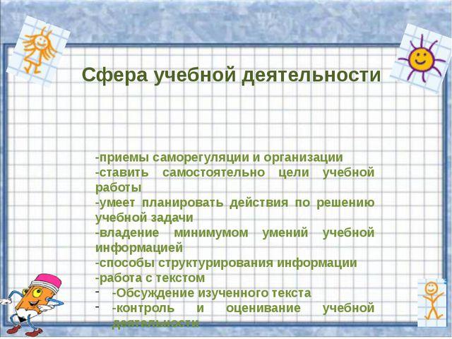 Сфера учебной деятельности -приемы саморегуляции и организации -ставить самос...