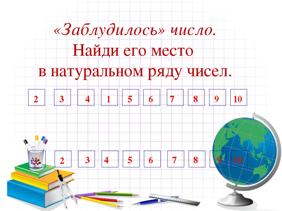 «Заблудилось» число. Найди его место в натуральном ряду чисел. 1 2 3 7 4 5 6...