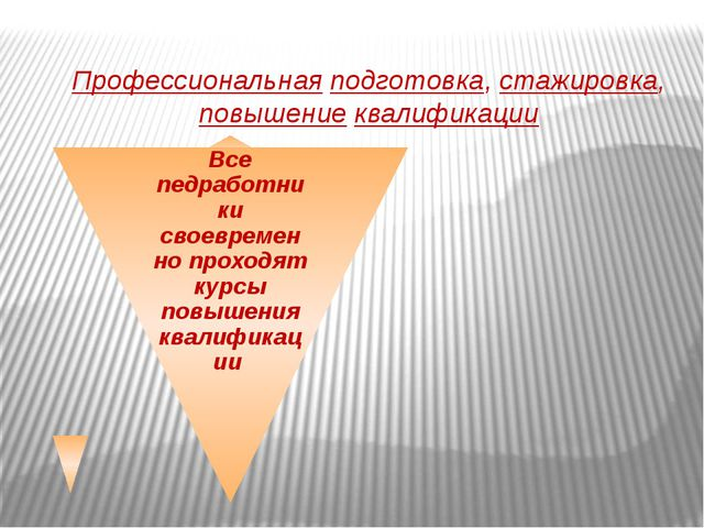 Профессиональная подготовка, стажировка, повышение квалификации