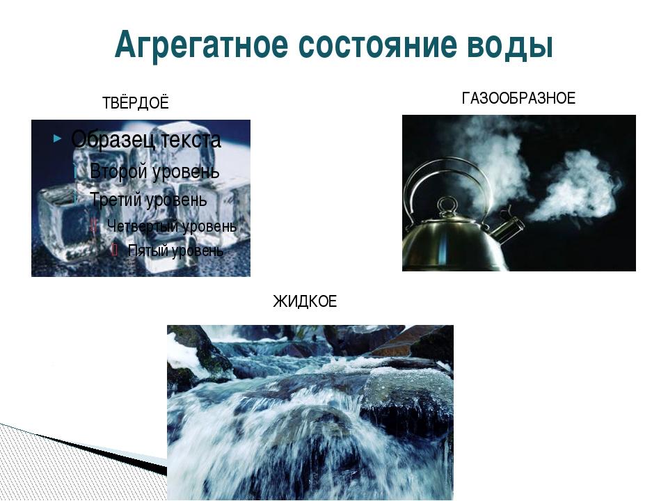 Агрегатное состояние воды ТВЁРДОЁ ЖИДКОЕ ГАЗООБРАЗНОЕ