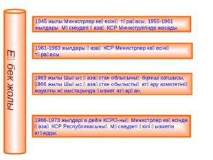1945 жылы Министрлер кеңесінің төрағасы, 1955-1961 жылдары Мәскеудегі Қазақ К