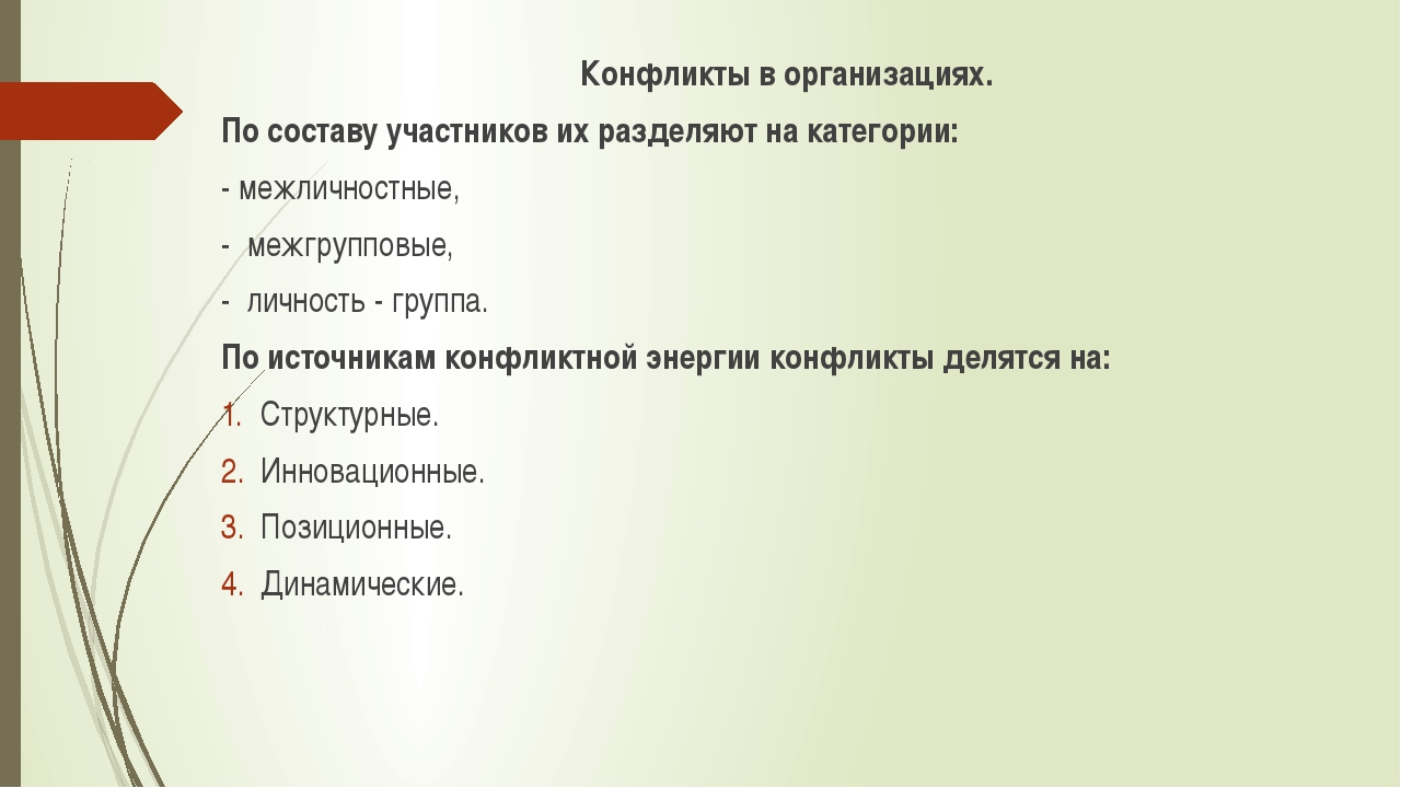 Конфликты в организациях. По составу участников их разделяют на категории: -...