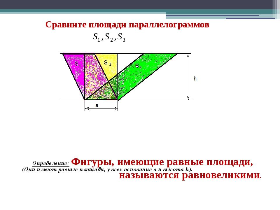 Сравните площади параллелограммов (Они имеют равные площади, у всех основани...