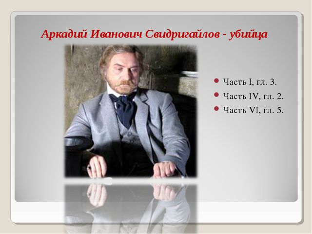 Аркадий Иванович Свидригайлов - убийца Часть I, гл. 3. Часть IV, гл. 2. Часть...