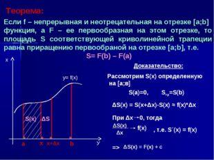 Теорема: Если f – непрерывная и неотрецательная на отрезке [а;b] функция, а F