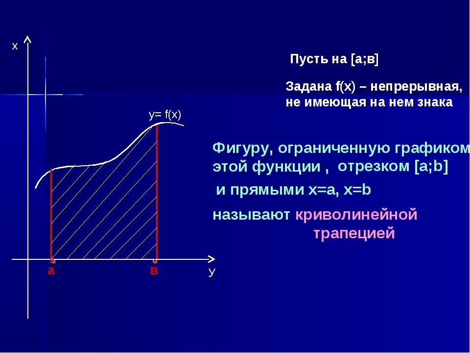 Пусть на [а;в] Задана f(х) – непрерывная, не имеющая на нем знака а в y= f(x)...