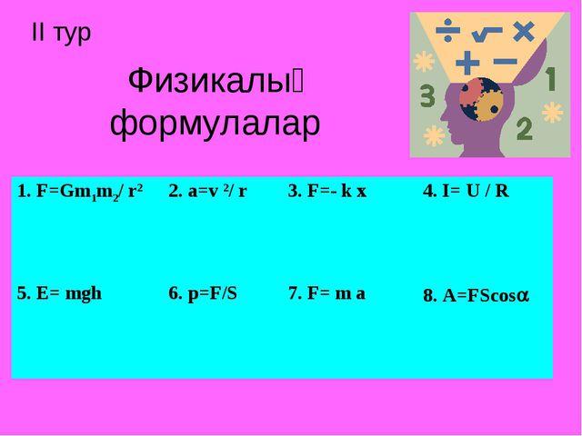 Физикалық формулалар ІІ тур 1. F=Gm1m2/ r2 2. a=v 2/ r 3. F=- k x 4. I= U...