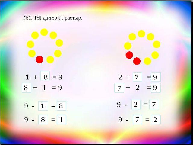 №1. Теңдіктер құрастыр. 1 + = 9 8 + 1 = 9 8 9 - = 1 8 9 - = 8 1 2 + = 7 9 + 2...