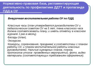 Нормативно-правовая база, регламентирующая деятельность по профилактике ДДТТ