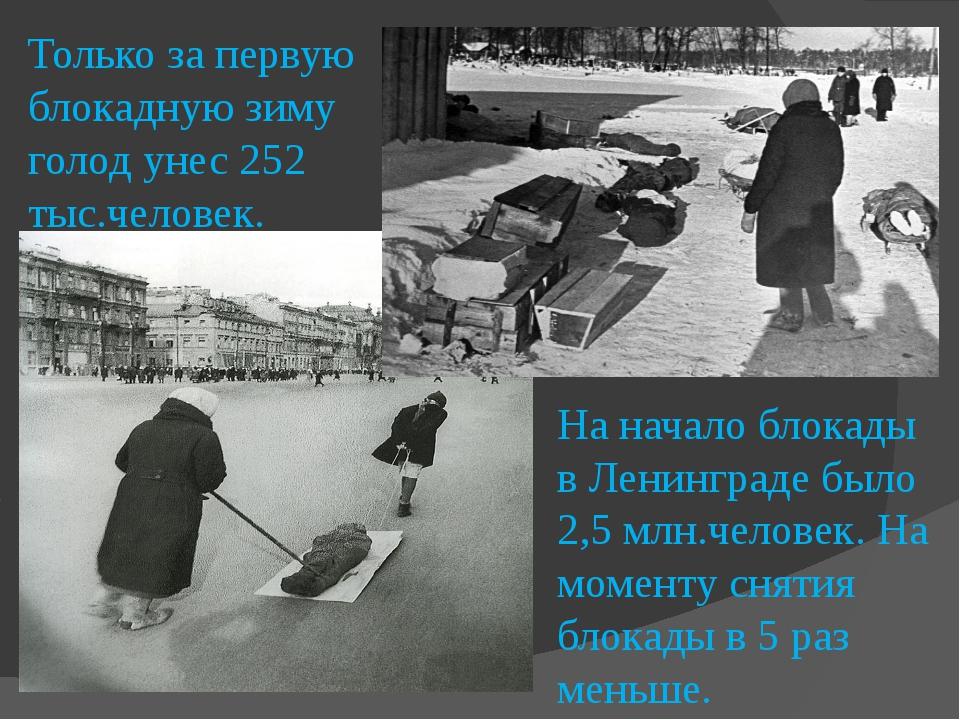 Только за первую блокадную зиму голод унес 252 тыс.человек. На начало блокады...