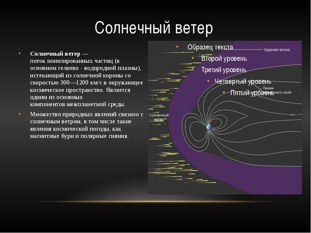 Солнечный ветер— потокионизированныхчастиц(в основномгелиево - водородно...