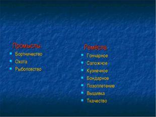 Промыслы Бортничество Охота Рыболовство Ремёсла Гончарное Сапожное Кузнечное
