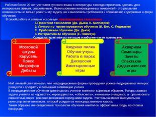Работая более 20 лет учителем русского языка и литературы я всегда стремлюсь