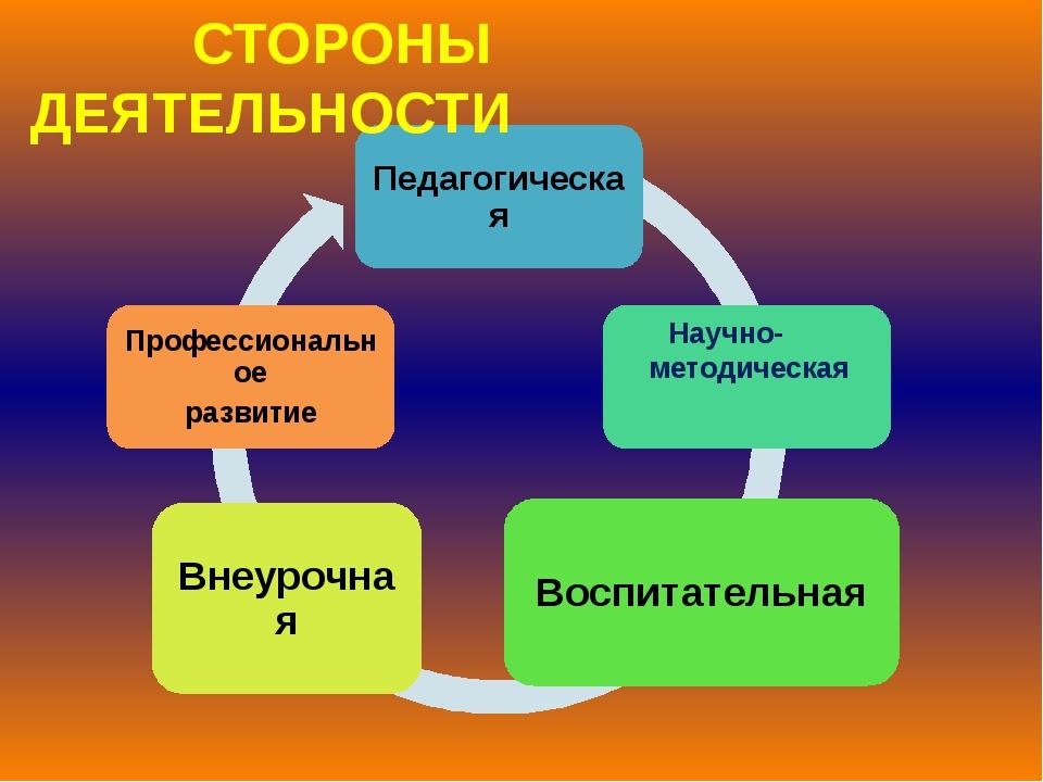 СТОРОНЫ ДЕЯТЕЛЬНОСТИ Научно- методическая