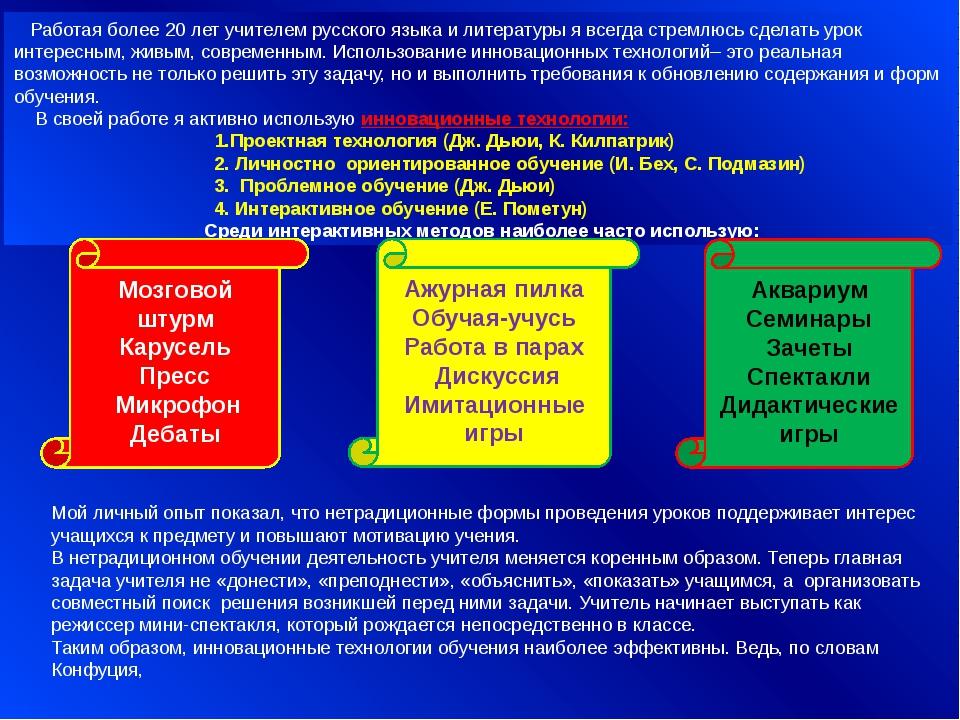 Работая более 20 лет учителем русского языка и литературы я всегда стремлюсь...
